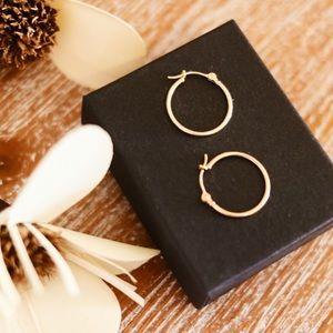 Dainty 14K Solid Gold Hoop Earrings